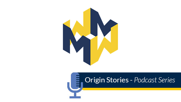 "M-Write logo above an illustration of a microphone with text that reads ""Origin Stories Podcast Series."""