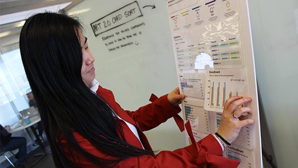 Ning Wang placing a laminated graph on a poster board