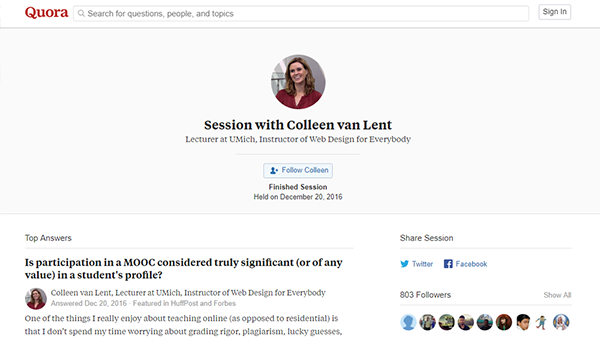 Screenshot of the Quora Q and A with Dr. Colleen Van Lent