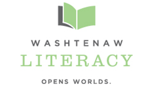 Open book. Washtenaw Literacy. Opens Worlds.