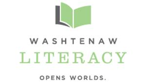 Open book. Washtenaw Literacy. Opens Worlds.